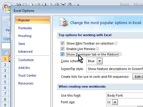 Display Developer tab on ribbon Excel 2007 Developer Tab in Excel 2010