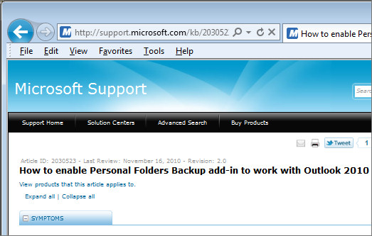 Outlook 2010 backup 2 Outlook 2010: backup gets worse (if that's possible)