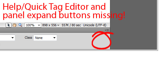 dreamweaver expand collapse buttons on properties panel missing 11 Dreamweaver – Properties inspector missing buttons