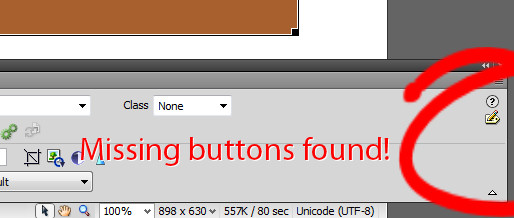 dreamweaver expand collapse buttons on properties panel missing 21 Dreamweaver – Properties inspector missing buttons