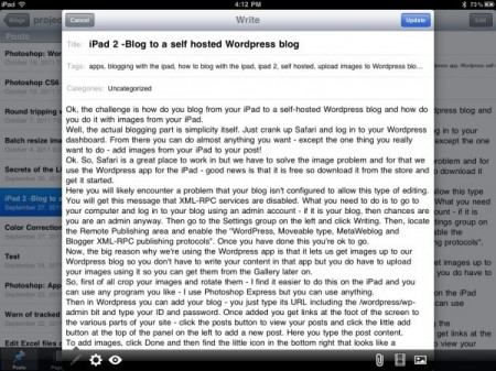 20110924 161243 e1316906179821 iPad 2  Blog to a self hosted Wordpress blog