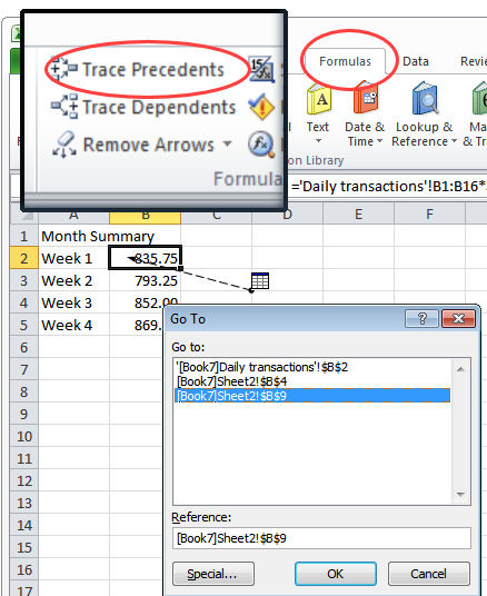 Excel go to using Trace precedents Go To a cell in a formula in Excel