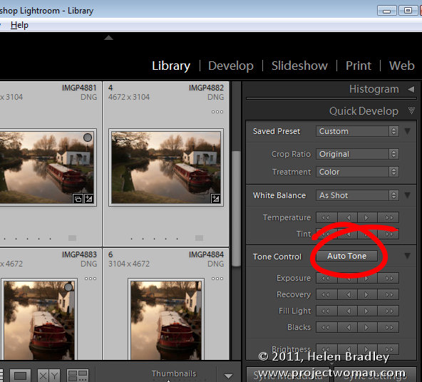 Lightroom quick develop module 2 Work in the Lightroom Quick Develop panel