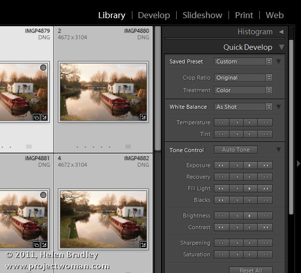Lightroom quick develop module opener Work in the Lightroom Quick Develop panel