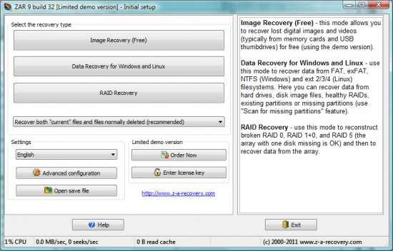 zar photo recovery step1 e1318279846613 Recover images from a damaged SD card