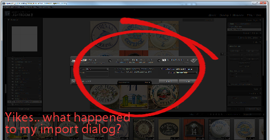 Lightroom import dialog shrunk 2 Lightroom   help my import dialog just shrunk!