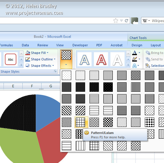 Pattern fills for your excel 2007 charts projectwoman in excel ccuart Image collections