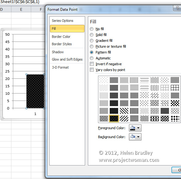 Pattern fills for your excel 2007 charts projectwoman helen bradley ccuart Image collections