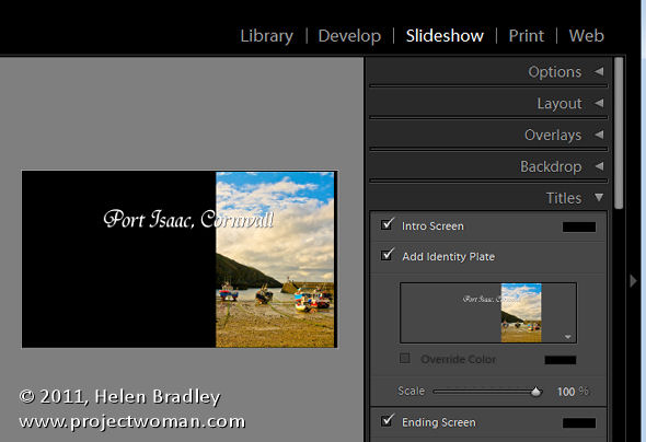 LR identity plates and slideshows 7 Slideshow Titles with Identity Plates in Lightroom