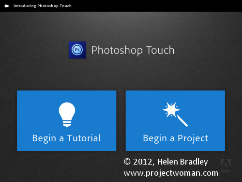 Photoshop touch first looks step1 Edit and Create on the go with Adobe Photoshop Touch