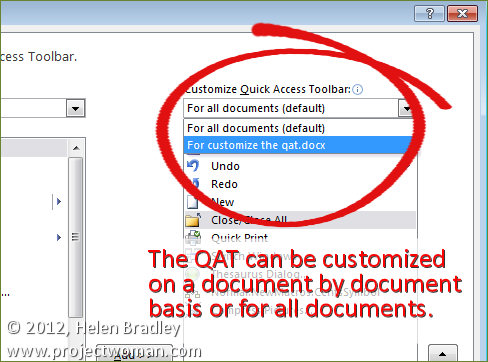 customize the quick access toolbar QAT step3 Customize the Quick Access toolbar in Word 2010