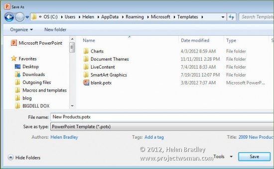 Office 2010 how to save files as templates projectwoman in future you can locate this presentation by choosing file toneelgroepblik Choice Image