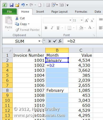 Excel fill trick step3 Excel fill intermittently empty cells