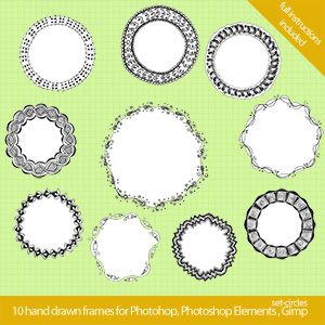 set circles 300x300 Cool hand drawn frames for Photoshop