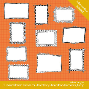 set rectangles 300x300 Cool hand drawn frames for Photoshop