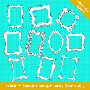 set simple 300x300 Cool hand drawn frames for Photoshop