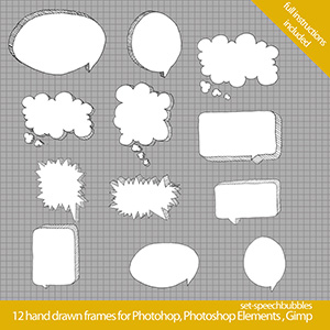set speechbubbles 300x300 Cool hand drawn frames for Photoshop
