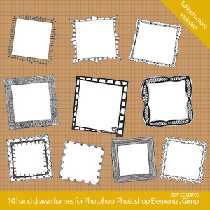 set square 300x300 Cool hand drawn frames for Photoshop