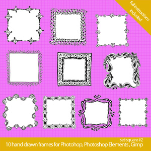 set squaretwo 300x300 Cool hand drawn frames for Photoshop