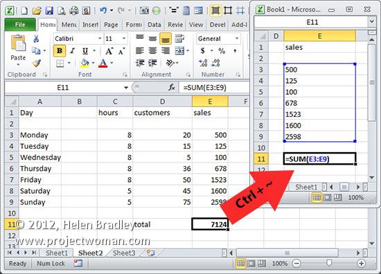 Trevor\'s Quick Excel Tip – Display Formulas « projectwoman.com