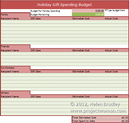holiday gift budget worksheet