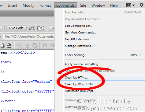 Strip tags from code in Dreamweaver CS5 & CS6 « projectwoman com