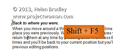 Word 2013 Tip Back to Where You Were Shift F5 Word 2010 and 2013 Tip   Back to Where You Were