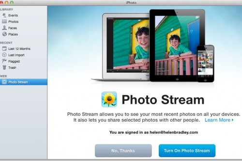 mac enable photo stream e1363267652499 Sync photos from iPad or iPhone to your Mac