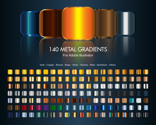 Free download 140 metal gradients Preview e1374107068256 6 Sites for free Illustrator Gradient Swatches