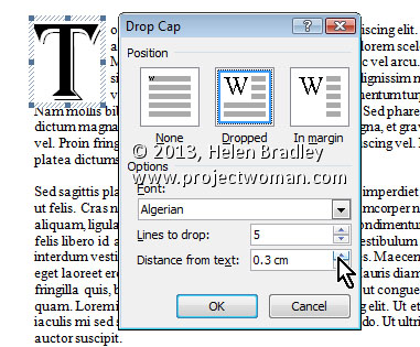 Word 2013 Tip Drawing Attention with a Drop Cap 3 Word 2010 and 2013 Tip   Drop Caps