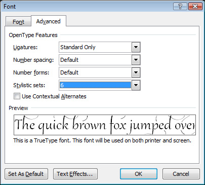 Word opentype3 Use OpenType to Beautify Fonts in Word 2010 & 2013