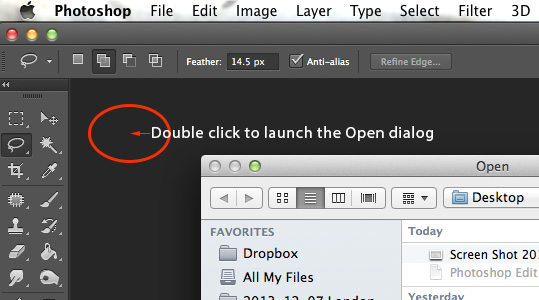 click to launch open dialog in photoshop Quickly Open an Image in Photoshop