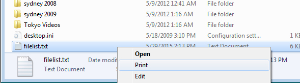 Print a List of Files in a Windows Folder « projectwoman com